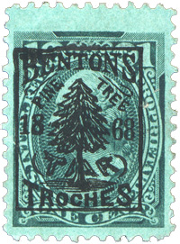Rare and exceptionally struck Benton's Pine Tar Troches cancel