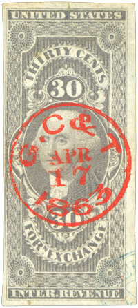 Socked-on-the-nose cancel using an unusual almost fluorescent ink