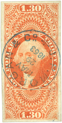Rare R77a with lovely strike of a J.P. Morgan & Co. cancel