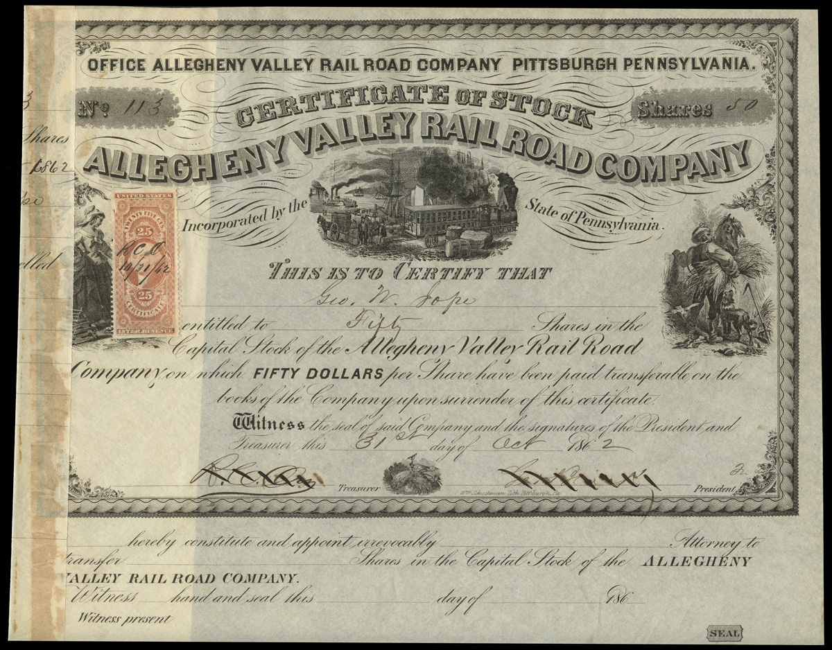 Revenue Stamped Stock Certificates And Bonds Revenue Collector